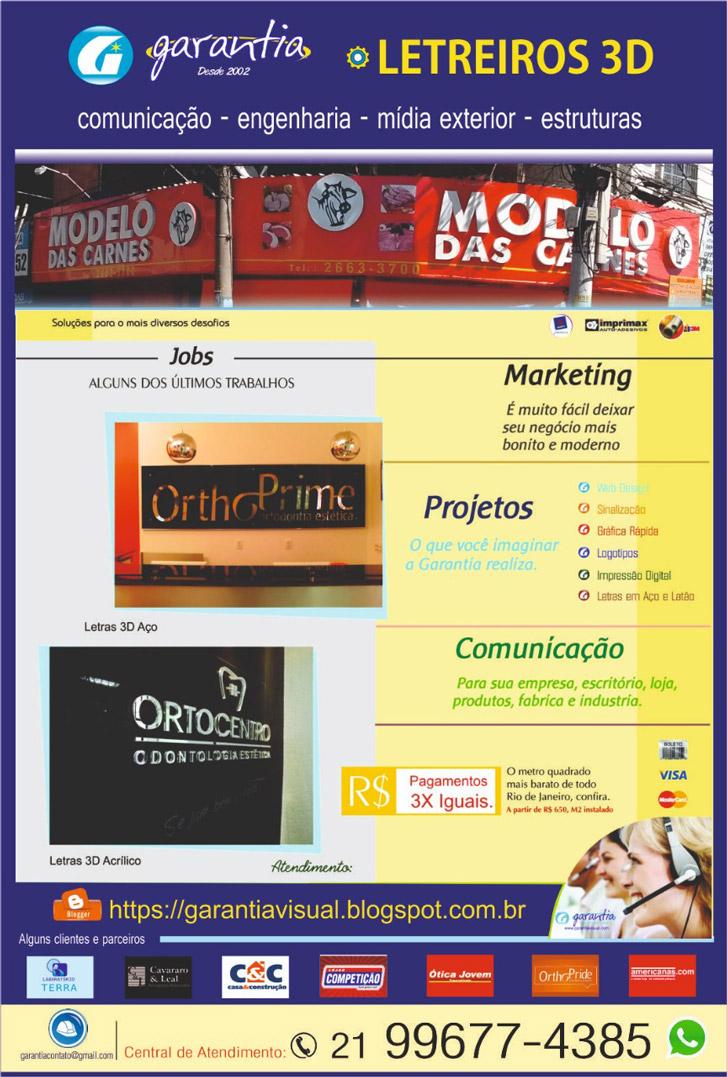 Garantia Letreiros 3D, colocação de outdoor, criação de logo tipo