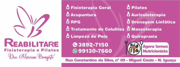 Mariana Bomgosto. pilates em miguel couto, fisioterapia em miguel couto